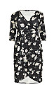 **Aarya Black 3/4 Sleeve Plus Size Wrap Dress