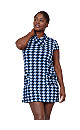 **Izabel Curve Blue Checked Knitted Roll Neck Dress
