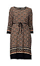**Izabel Curve Brown Geometric Print Shift Dress