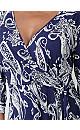 **Izabel Curve Navy Blue Paisley Print Wrap Front Dress