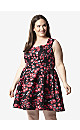 **Izabel Curve Red Floral Fit & Flare Dress