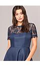 **Chi Chi London Navy Blue Lace Dip Hem Skater Dress
