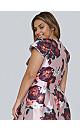 **Chi Chi London Mink Floral Dim Hem Skater Dress