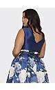 **Chi Chi London Navy Blue Floral Print Midi Dress