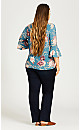 Plus Size Teal Floral Cage Fit & Flare Tunic - teal