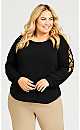 Plus Size Blouson Cage Sleeve Top - black