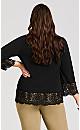 Plus Size V Neck Lace Trim Tunic - black