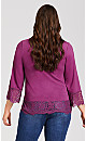 Plus Size V Neck Lace Trim Tunic