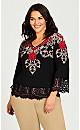 Plus Size V Neck Lace Trim Top - black
