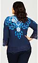 Plus Size V Neck Lace Trim Top - blue