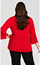 Plus Size 3/4 Sleeve Crossover Hem Top - red