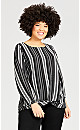 Stripe Knot Front Long Sleeve Top - black