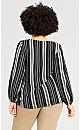 Plus Size Stripe Knot Front Long Sleeve Top - black