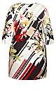 Plus Size Floral A-Line 3/4 Sleeve Dress - ivory floral