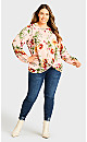 Plus Size Long Sleeve Knot Front Top - pink