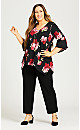 Plus Size Flare Sleeve Ombre Necklace Tunic - black
