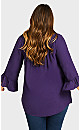 Plus Size Smock Flutter Top - purple