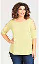 Plus Size 3/4 Sleeve Knit Top - green