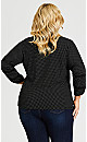 Lace Insert Long Sleeve Top - black