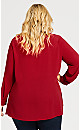 Plus Size V Neck Pleat Front Top - red