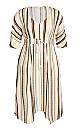 Plus Size Caribbean Print Dress - beige