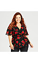 Plus Size Wrap Love Top - red