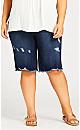 Plus Size Rip & Rep Bermuda Short - indigo