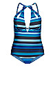 Cancun Stripe Underwire 1 Piece - blue