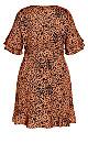 Leopard Flutter Dress - tawny