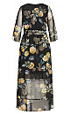Golden Floral Maxi Dress - black