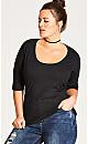 Elbow Sleeve Basic Top - black