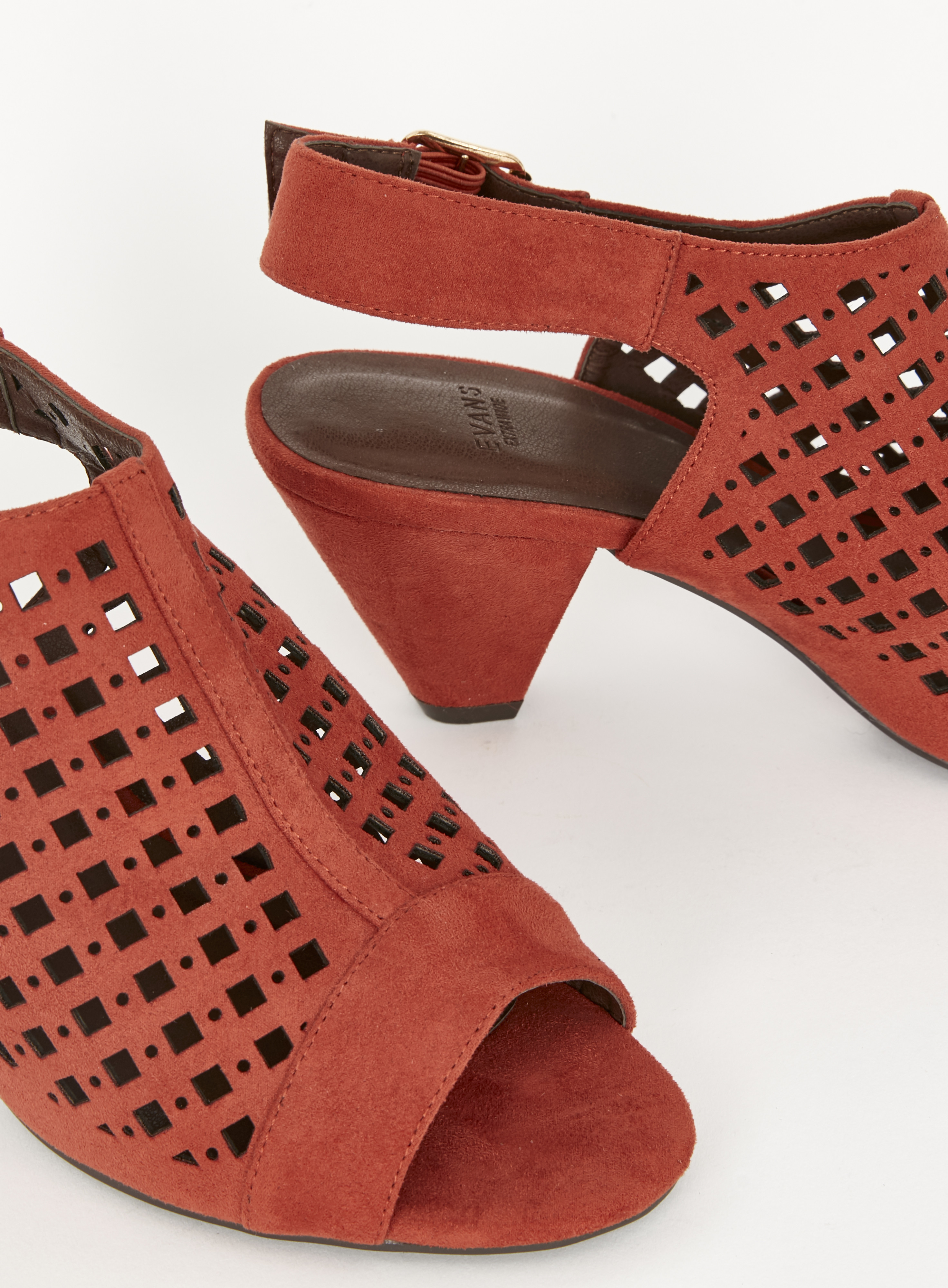 Large Size Ladies EVANS Rust CutOut Slingback Cone Shoes PLUS SIZE UK9 EEE HABIB